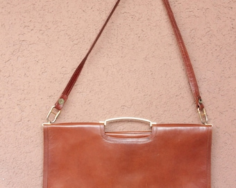1970's Carame Leather Bag - 70's Brown Satchel Bag