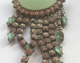 Large Vintage Simulated Green Jasper and Clear Rhinestones Art Deco Style Cascading Tassel Brooch 1950s