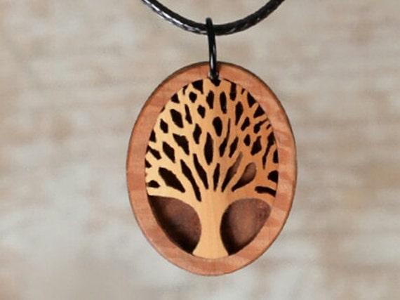 Holzschmuck  Lebensbaum aus Eibe Handgemachter Choker. Holzschmuck und die