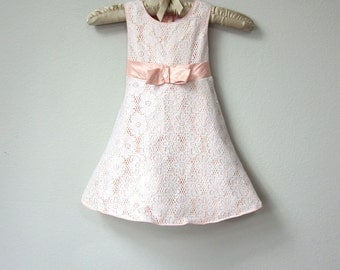 Sweet Toddler, Baby Girl's Dress, Light Peach Satin with White Lace, Shiny Ribbon Sash and Bow, Baby Party Dress, Easter Dress, Sunday Dress