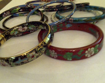 Great Collection of 12 Vintage Colorful Cloisonne Bangle Bracelets