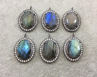 Cubic Zirconia Encrusted Natural Labradorite  Faceted Oval Shaped Gunmetal Plated Focal Pendant - Measuring 21mm x 25mm - Individual, Random