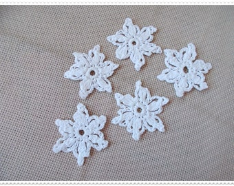 Crochet snowflakes,  White Snowflake applique, Motif snowflake, Christmas ornaments, White crocheted snowflake, Christmas home decor