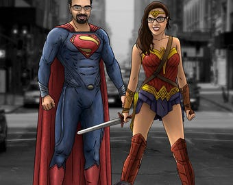Custom Superhero Portrait / Movie TV style / Superheroes / Marvel / DC / Family / Bespoke Illustration / Ironman / Wolverine  / Superman