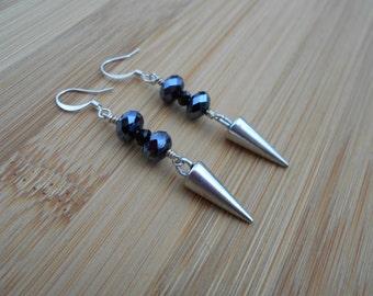 Sterling Silver black crystal spike earrings