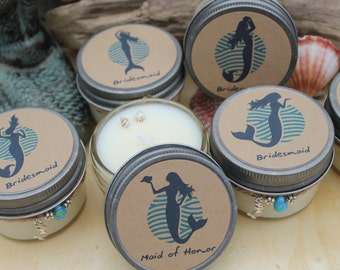 Set of 6 Mermaid Bridal Candles - 4 oz Mini Candles - Custom Bridal Candles - Bridesmaid - Maid of Honor - Wedding Candles - Custom Gifts