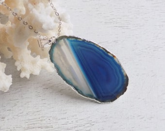 Blue Agate Necklace, Slice Agate Pendant, Bohemian Jewelry, Agate Slice Necklace, Silver Layer Necklace, Boho Necklace, Gift For Her, 8-498