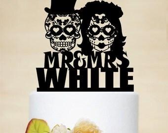 Sugar Skull Cake Topper,Skeleton Cake Topper,Mr And Mrs Wedding Cake Topper,Last Name Cake Topper,Custom Cake Topper,Halloween Wedding C168