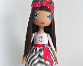 Handmade Dolls Art Doll Ooak Doll Gift for sailor Marine Gift for captain Gift For Him Rag Doll Cloth Doll Fabric Dolls Soft Toys Home Decor