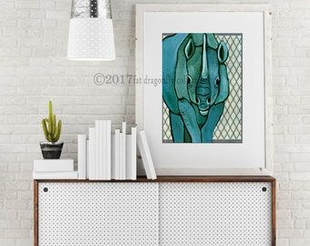 Rhino art print. Rhino poster. Rhino home decor. Rhino wall decor. Rhinoceros wall art. Jungle wall art for nursery or home. Shanni Welsh