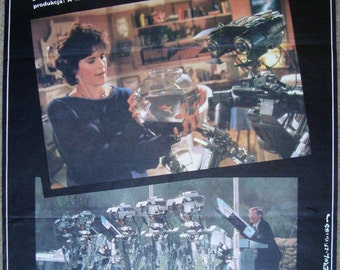 Short Circuit, Polish poster, American movies, sci fi, robots, movie poster, designed by Erol, wall decoration, bedroom decoration, 005