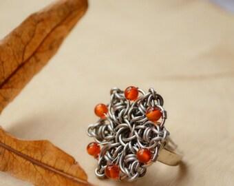 Chainmaille steel flowers, OOAK boho style jewelry set, unique design jewelry, carnelian orange beaded ring, Bohemian style jewelry set