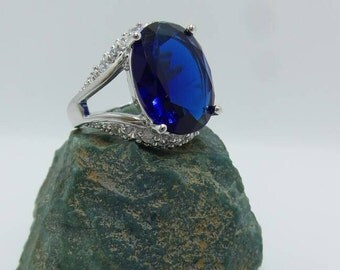 Sapphire Sterling Silver Ring, size 8.