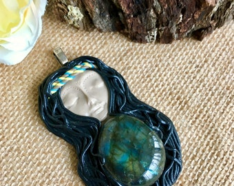 Goddess pendant - Labradorite Pendant - Gemstone Jewelry - Boho Jewelry - Clay Pendant
