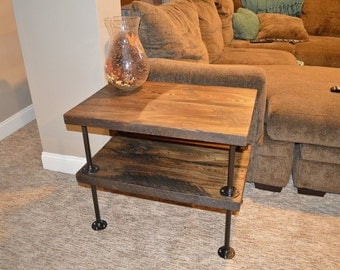 Exceptional Reclaimed Barn Wood 2 Tier End Table