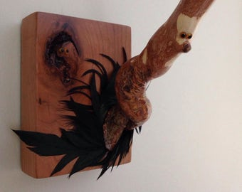 Wall Hook wooden with woodland faces, feather