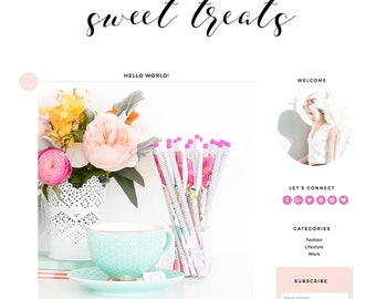 "Blogger Template Mobile Responsive - Instant Digital Download - Complete Blog Design -""Sweet Treats"""