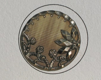 Large Victorian Celluloid Button - Textured Background - Fancy Border - Floral Design!  Antique Button!