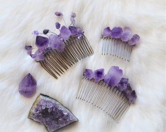 Natural Amethyst Crystal Hair Comb, Wedding Hair Accessories, Purple Quartz Bridal Comb