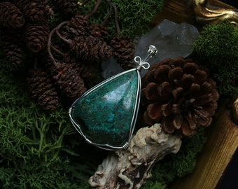 Wire Wrapped Teadrop Green Chrysocolla Pendant