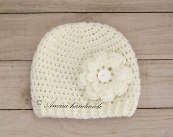 Baby hats for girls, Baby girl gift, Baby girl shower gift, Crochet baby girl hat for Newborn to 12 Months, Christening hat, Very soft
