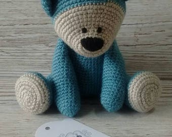 Blue Teddy Bear * Crochet Blue Bear * Baby Gift