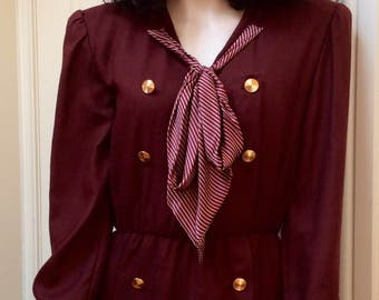 1980s Victor Edelstein rust brown sailor dress UK 10