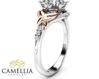 14K Two Tone Gold Moissanite Engagement Ring Wedding Leaf Band Unique 2Ct Moissanite Engagement Ring