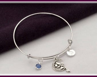 Fairy bangle bracelet, fairy charm bracelet, birthstone bracelet, fairy wing bracelet, personalized bracelet, silver bangle bracelet