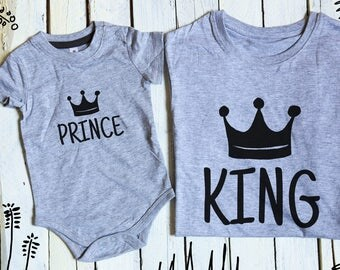 King Prince, daddy and me, father son matching, King Prince crowns, father son matching T-shirts, prince onesie, king shirt, prince bodysuit