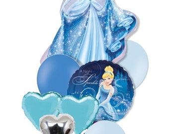 8 Piece Set Large Princess Foil Balloon Cinderella for Princess Birthday Decoration