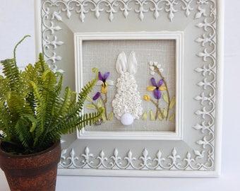 Framed Silk Ribbon Embroidery Hand Stitched Original Design Rabbit in Garden Pansies