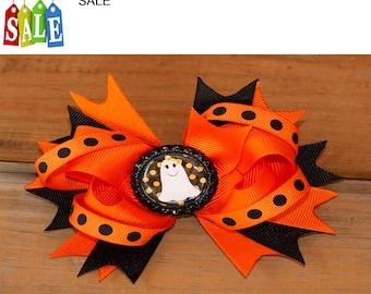 Halloween hair bow, fall hair bow, Holiday hair bow, pumpkin hair bow, hair bow, Orange hair bow fall hair bow