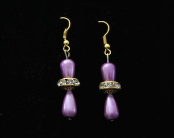 Dangle Purple and Gold Beaded Teardrop Earrings, Dangle Purple Beaded Teardrop Earrings