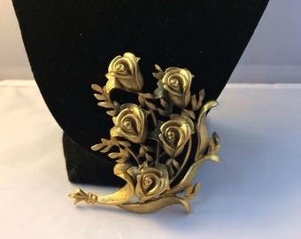 TORTOLANI Antique Gold Tone Huge Rose Floral Bouquet Brooch Pin in 3D