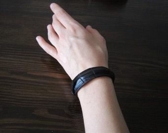 Womens leather bracelet, leather cuff bracelet, crocodile leather bracelet, crocodile bracelet