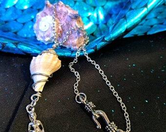 Seashell Mermaid pendant necklace
