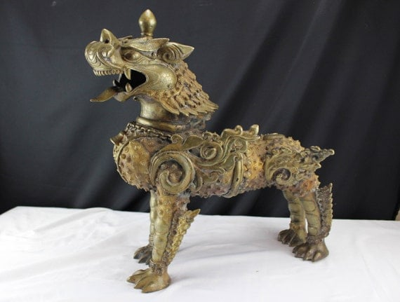 Antique Chinese Imperial Kylin Bronze Statue, Large, Mythology Temple Guardian, Foo Dogs Brass