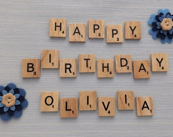 Happy Birthday Personalised Scrabble Magnets Set