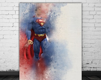 Superman Gift, Man Of Steel, Movie Lover Gift, Superhero Poster, Movie Art, DC Comics Poster, Red Blue Watercolor Art Print, Clark Kent