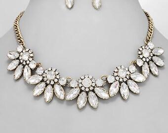 Crystal Burst Bib Necklace