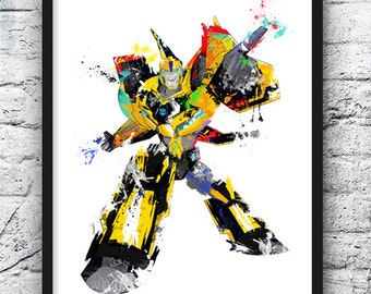 Transformers Bumblebee Watercolor Print, Movie Poster, Transformers, Robot Car, Wall Art, Home Decor, Kids Room Decor, Boy room - 633