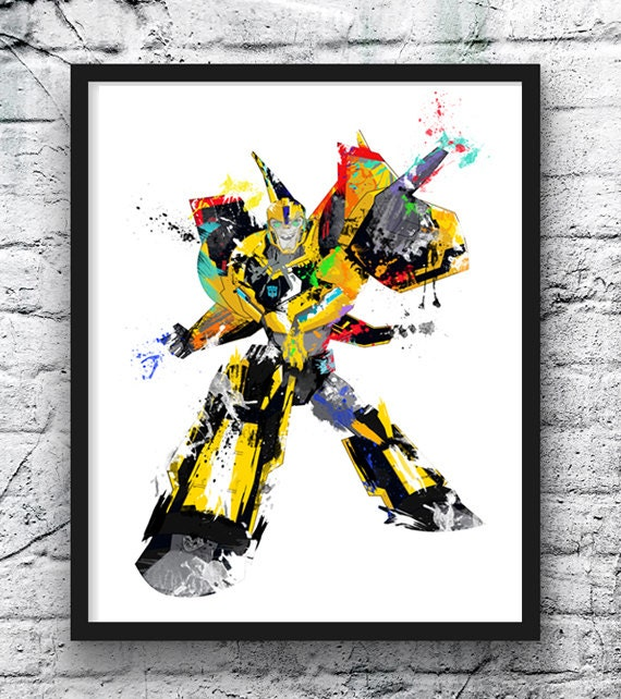 Transformers Bumblebee Watercolor Print  Movie Poster  Transformers  Robot  Car  Wall Art  Home Decor  Kids Room Decor  Boy room   633. Robot room decor   Etsy