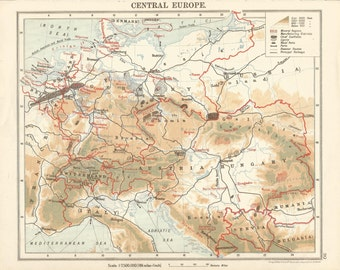 1906 map of central europe. antique map vintage wall decor