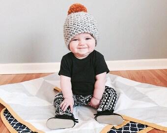 The Jones hat- baby hat, infant hat, kid hat, Children's hat with pom pom, pom pom hat