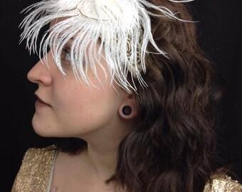 Flapper Headband, Feather Headband, Gatsby Headpiece, 1920's Headdress, Roaring 20's Head wrap, Costume Party, Gatsby party, vintage wedding