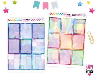 Watercolor full boxes Stickers, Planner Stickers