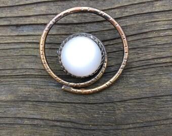 Vintage Brooch Faux Moonstone - Mid Century Jewelry -  Round - Swirl - Modernist