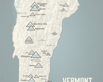 Vermont Ski Resorts Map 18x24 Poster