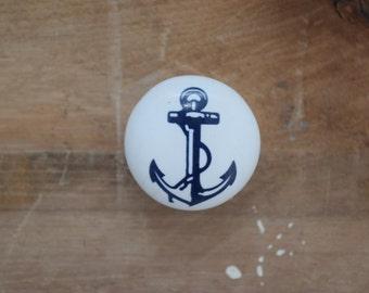 Anchor Drawer Knobs, White Drawer Pulls, Nautical, Ocean, Fish, Boat Decor, Nursery Decor, Drawer Knobs, Beach Knobs, Beach House